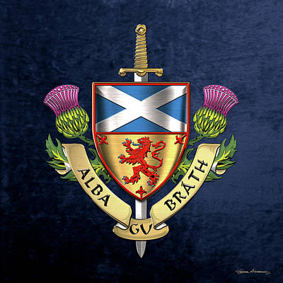 Digital Art - Scotland Forever - Alba Gu Brath - Symbols Of Scotland Over Blue Velvet by Serge Averbukh