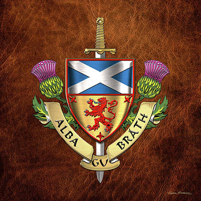 Digital Art - Scotland Forever - Alba Gu Brath - Symbols Of Scotland Over Brown Leather by Serge Averbukh