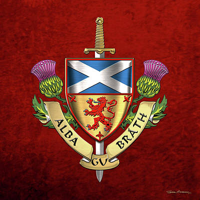 Digital Art - Scotland Forever - Alba Gu Brath - Symbols Of Scotland Over Red Velvet by Serge Averbukh