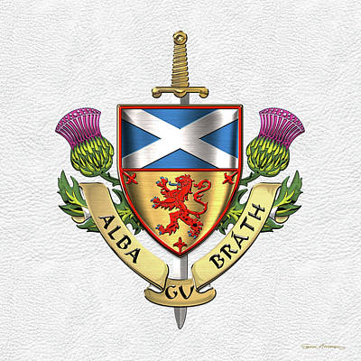 Digital Art - Scotland Forever - Alba Gu Brath - Symbols Of Scotland Over White Leather by Serge Averbukh