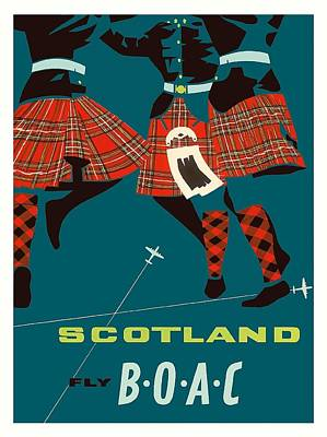 Scotland Scottish Highland Dancers Boac Vintage Airline Travel Poster Art Print