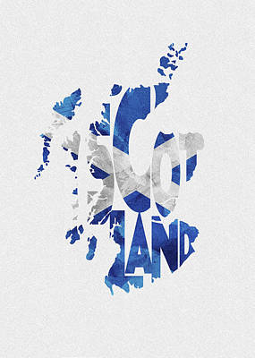Tourism Digital Art - Scotland Typographic Map Flag by Inspirowl Design