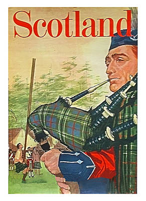 Bagpipes Wall Art - Painting - Scotland,traditional Man Playing Bagpipes,travel Poster by Long Shot
