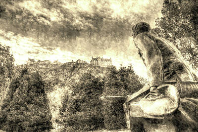 Photograph - Scots American Memorial And Edinburgh Castle Vintage by David Pyatt