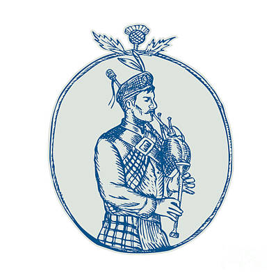 Scotsman Bagpiper Playing Bagpipes Etching Art Print by Aloysius Patrimonio