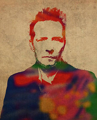 Temple Mixed Media - Scott Weiland Stone Temple Pilots Watercolor Portrait by Design Turnpike