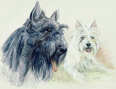 Westie Dog Painting - Scottie And Westie by Morgan Fitzsimons