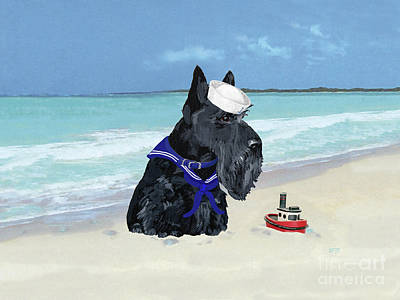 Painting - Scottie Dog At The Beach by Ann Kallal
