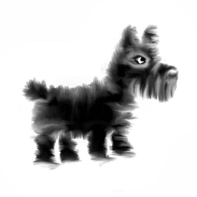 Scottish Terrier Drawing - Scottie Dog by Koala Chess