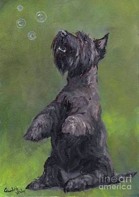 Painting - Scottie Likes Bubbles by Charlotte Yealey