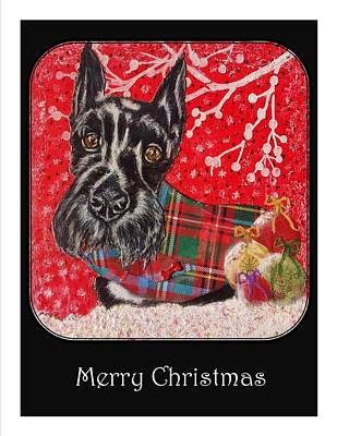 Scottish Dog Mixed Media - Scottie Merry Christmas by Janet Chwieseni