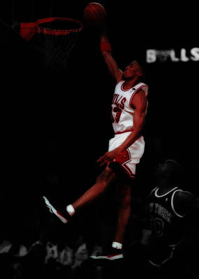 Scottie Pippen Above The Rim Art Print