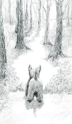 Scotties Drawing - Scottie Saying Goodbye by Ronald Coniglio