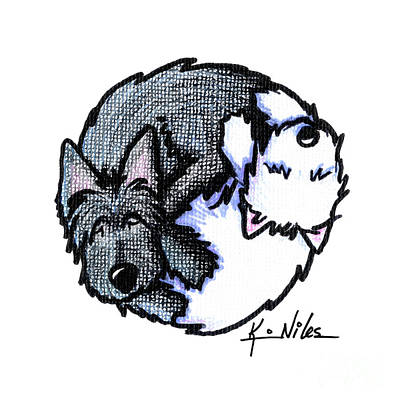 Drawing - Scottie Westie Yin Yang by Kim Niles