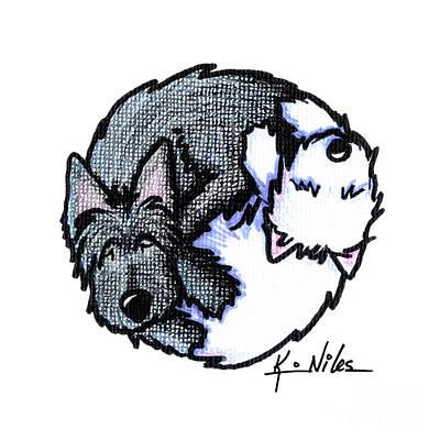 Scotties Drawing - Scottie Westie Yin Yang by Kim Niles