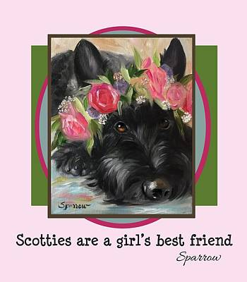 Scottish Dog Painting - Scotties Are A Girl's Best Friend by Mary Sparrow