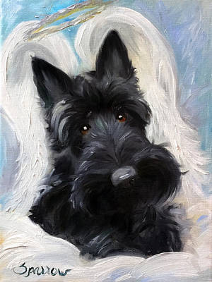 Scottish Terrier Painting - Scottish Angel by Mary Sparrow