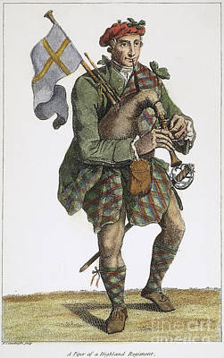 Bagpipes Wall Art - Photograph - Scottish Bagpiper, 1786 by Granger