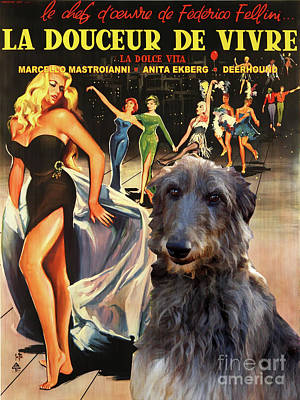 Painting - Scottish Deerhound Art - La Dolce Vita Movie Poster by Sandra Sij