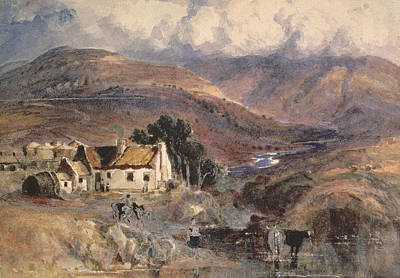 Farming Drawing - Scottish Landscape by Sir Joseph Noel Paton