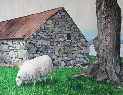 Scottish Sheep Art Print by Sharon Farber