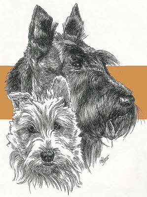 Mixed Media - Scottish Terrier And Pup by Barbara Keith