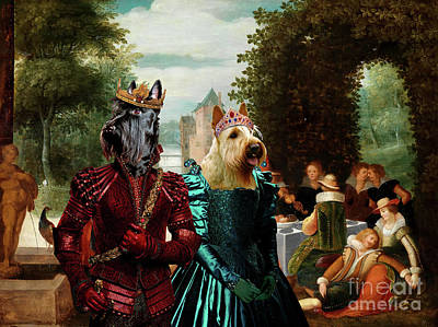 Painting - Scottish Terrier  Art Canvas Print -  An Elegant  Music Party by Sandra Sij