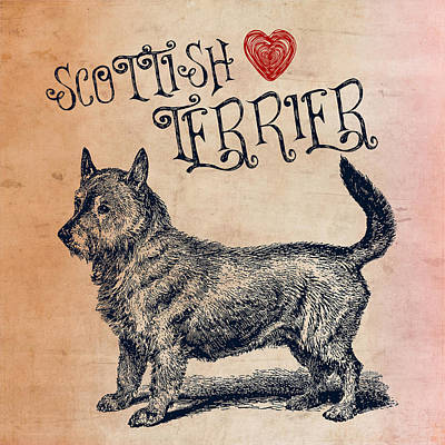Scottish Dog Digital Art - Scottish Terrier by Brandi Fitzgerald