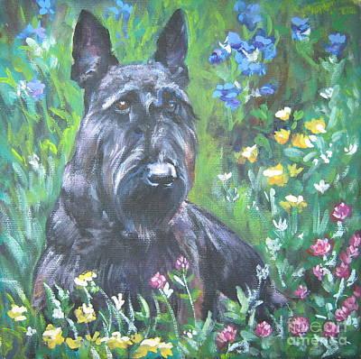 Scottish Terrier Puppy Painting - Scottish Terrier In The Garden by Lee Ann Shepard