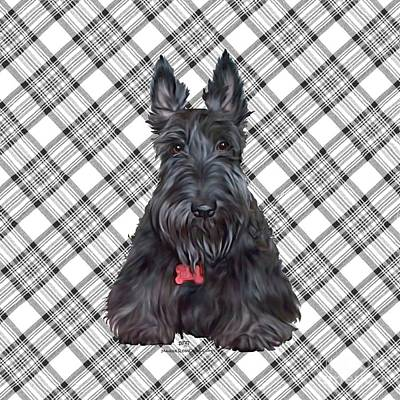 Scottish Terrier Digital Art - Scottish Terrier On Plaid by Ann Kallal
