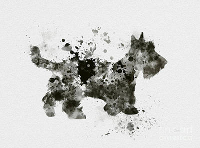 Dog Mixed Media - Scottish Terrier by Rebecca Jenkins