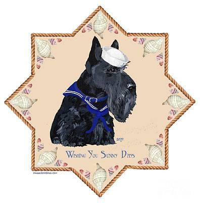 Scottish Terrier Digital Art - Scottish Terrier Sailor by Ann Kallal