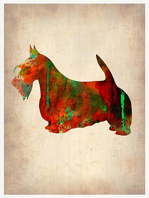 Scottish Dog Painting - Scottish Terrier Watercolor 2 by Naxart Studio