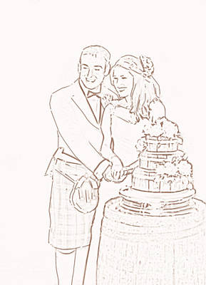 Art Print featuring the drawing Scottish Wedding by Olimpia - Hinamatsuri Barbu
