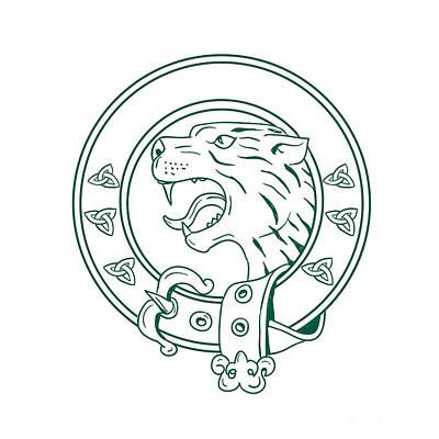 Knotwork Digital Art - Scottish Wildcat Head Celtic Belt Drawing by Aloysius Patrimonio