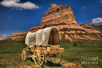 Wagon Train Photograph - Scotts Bluff Wagon Train by Adam Jewell