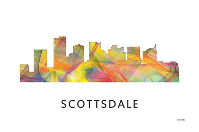 Scottsdale Digital Art - Scottsdale Arizona Skyline by Marlene Watson