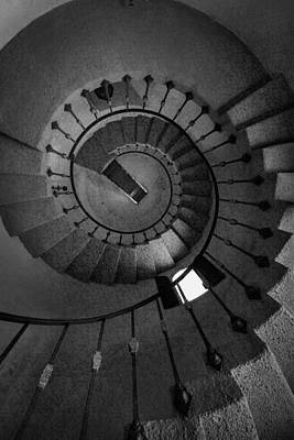 Spiral Staircase Photograph - Scottys Castle Stairwell B W by Steve Gadomski