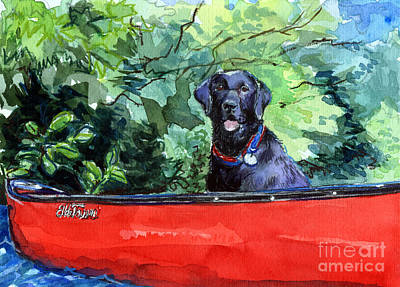 Painting - Scout In Canoe by Molly Poole