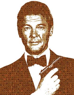 Pierce Brosnan Digital Art - Scrabble 007 - Moore by Gary Hogben