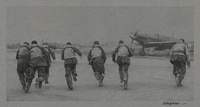Wwii Drawing - Scramble by Wade Meyers