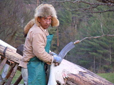 Photograph - Scraping A Hide For Buckskin by Nancy Griswold