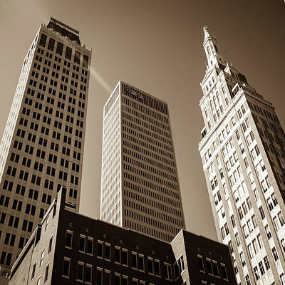 Photograph - Scraping The Tulsa Sky - Architectural Art In Sepia by Gregory Ballos