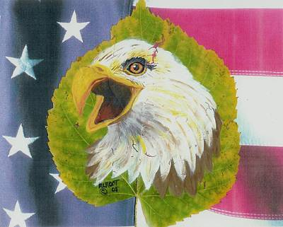 Painting - Screaming Eagle With U.s. Flag #2 by Ralph Root