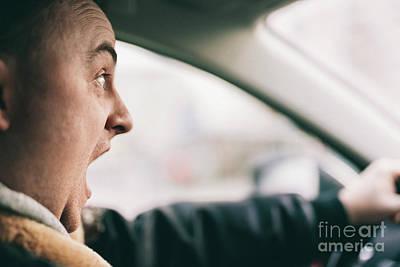 Photograph - Screaming Man Driving A Car. by Michal Bednarek