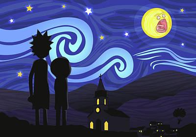 Rick Wall Art - Digital Art - Screaming Night By Van Gogh by Rick And Morty