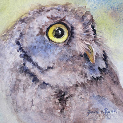 Art Print featuring the painting Screech Owl by Bonnie Rinier