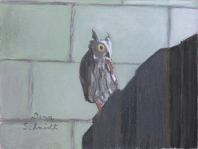 Painting - Screech Owl On Gate To Pergola by Dana Schmidt