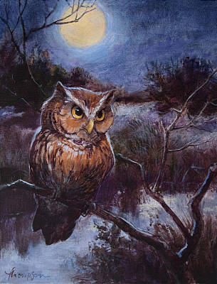 Little Owl Painting - Screech Owl by Tracie Thompson
