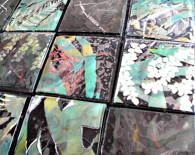 Forestry Mixed Media - Screen Printed Glass Tiles by Sarah King